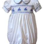 Smocked Sailboat Romper White