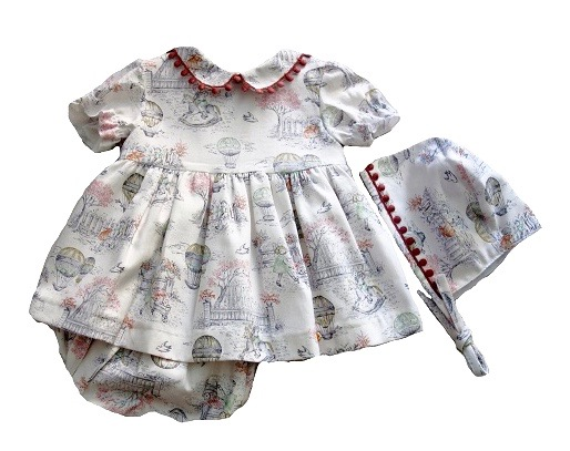 Girl's cute Dress with garden motives bonnet and culotte