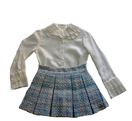 Girl's Tweed skirt with frilled shirt